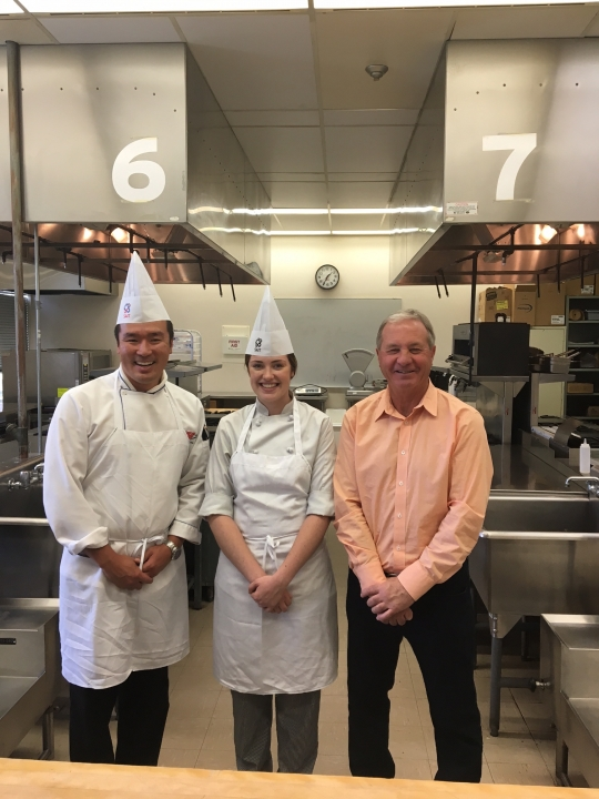 SAIT'S VICTORIA HISLOP DEMONSTRATES HER WORLD CLASS COOKING SKILLS TO M.P. RON LIEPERT PRIOR TO WORLDSKILLS ABU DHABI 2017 DEPARTURE
