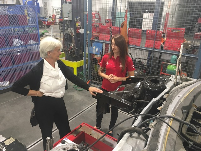 WORLDSKILLS TEAM CANADA 2017 MEMBER VYOLAINE DUJMOVIC DEMONSTRATES HER TRADE TO LOCAL M.P. HÉLÈNE LAVERDIÈRE